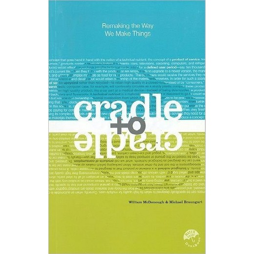 Book cover for Cradle to Cradle - blue top and green bottom with mirrored vehicle silhouettes