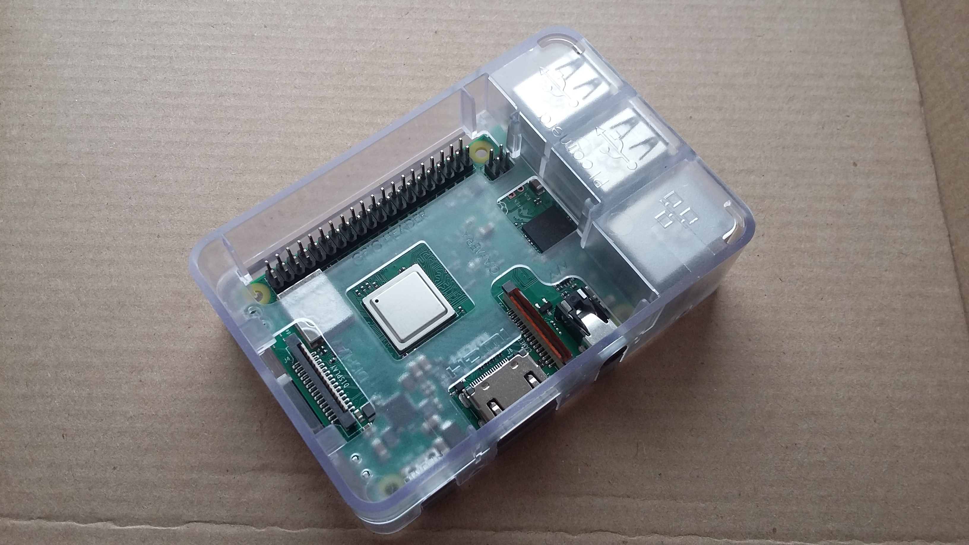 Raspberry Pi 3 B+ in transluscent plastic case