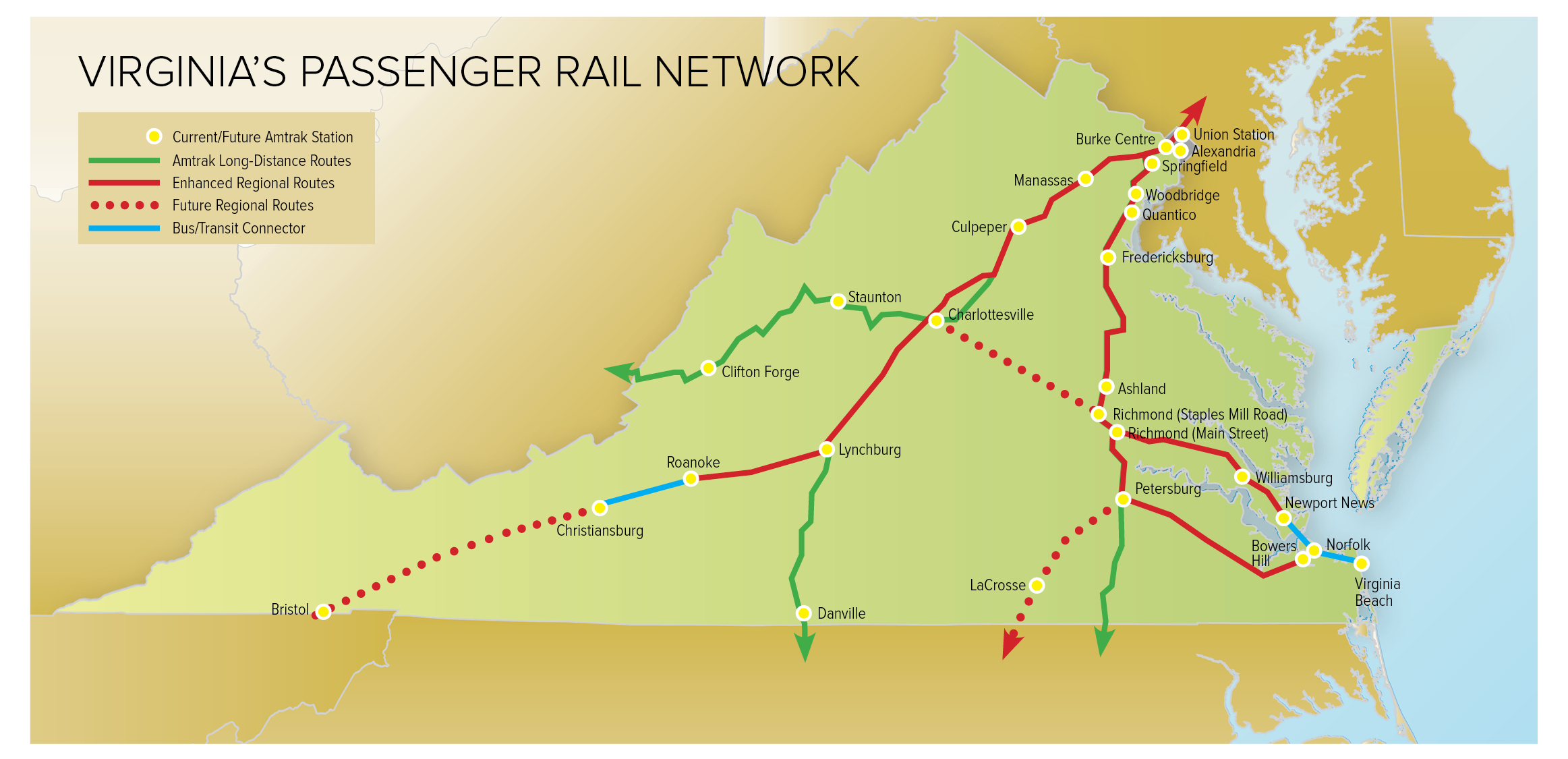A map of VA showing current and future regional/long distance Amtrak routes. I believe this is aspirational, not planned.