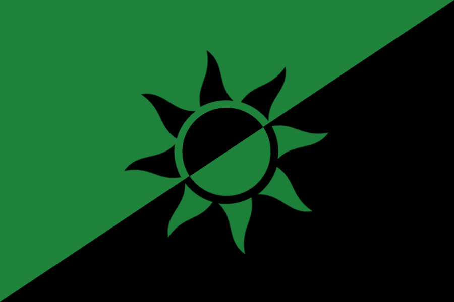 A flag with split diagonally between green on the upper left and black on the lower right. An 8-rayed sun symbol is overlayed at the center with a black upper left and green lower right.