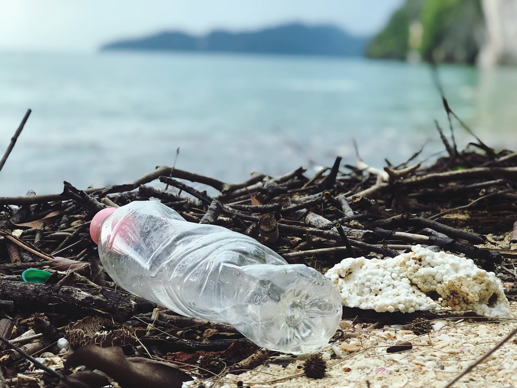 A plastic bottle and some other detritus are very close to the camera and litter the shore. There are sticks mixed with the litter, and the ocean and some mountains are in the background, but out of focus.